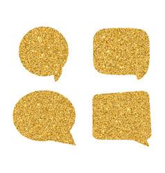 Set golden speech bubbles glowing aurulent vector