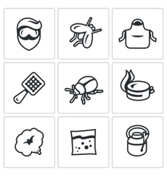 Set of Disinfection Icons Man fly apron vector