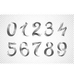set of festive solver ribbon digits iridescent vector image