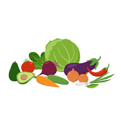 set of juicy vegetables grouped together in flat vector image