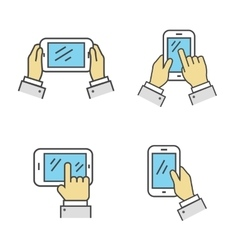 Set of Phone in Hand Isolated Sign vector