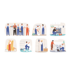 set various smiling home masters and repairmans vector image