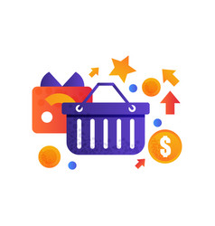 shopping basket and credit card online store vector image