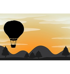 Silhouette balloon flying in the sky vector