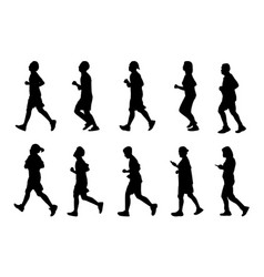 Silhouette man and women running black people run vector