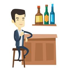 Smiling man sitting at the bar counter vector