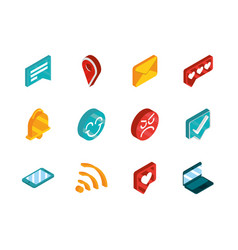 social media isometric icons collection vector image