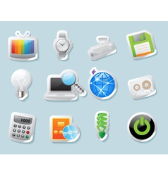 Sticker icons for technology and devices vector image