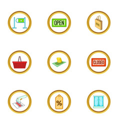 Supermarket icons set cartoon style vector