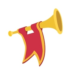 Trumpet with red flag cartoon vector