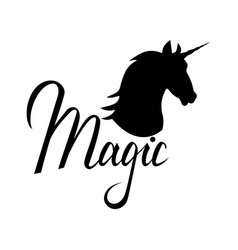 unicorn head silhouette with text vector image