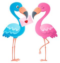 valentine flamingos topic image 3 vector image