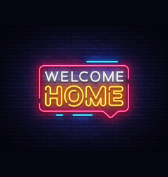 welcome home neon text home neon vector image