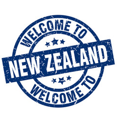 Welcome to new zealand blue stamp vector