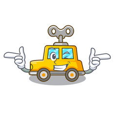 Wink cartoon clockwork toy car in table vector