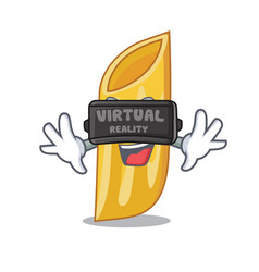 With virtual reality penne pasta character cartoon vector