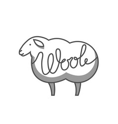 Wool emblem with merino sheep label for hand made vector