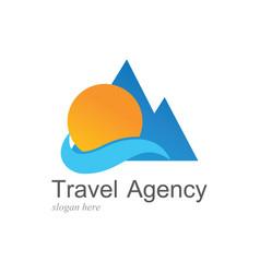 beach travel logo vector image vector image