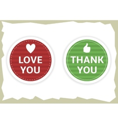 Love you and thank you stickers vector image vector image