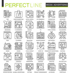 media advertising outline mini concept symbols vector image vector image