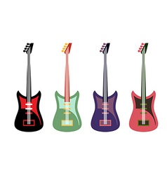 Set of colored guitars Multi-colored rock electric vector image