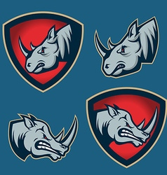 Set of emblems with rhino head Sport team mascot vector image vector image