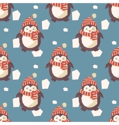 Christmas penguins pattern vector image