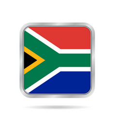 flag of south africa metallic gray square button vector image