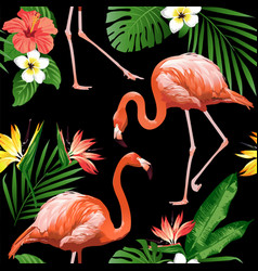 flamingo bird and tropical flowers background seam vector image