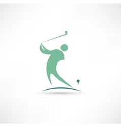 man playing golf icon vector image