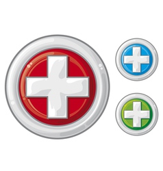medical sign button first aid vector image