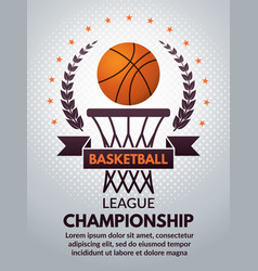 retro basketball poster for sport college vector image