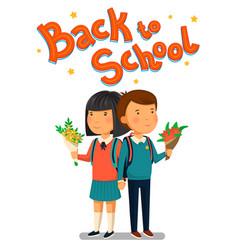 schoolboy and schoolgirl with back to school text vector image