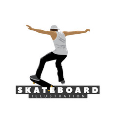 skateboarder on white background vector image vector image