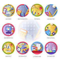 education and science disciplines for school or vector image vector image