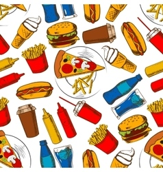 Fast food lunch seamless pattern background vector image vector image