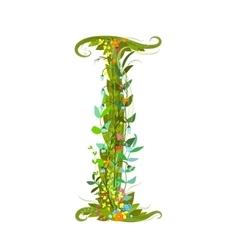 Flower letter I calligraphy floral elegant vector image vector image