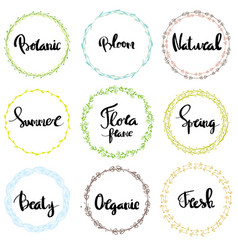 nature frames decorative elements with lettering vector image vector image