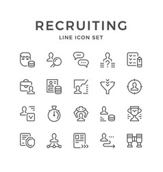 Set line icons of recruiting vector