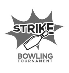 strike bowling tournament monochrome logotype with vector image