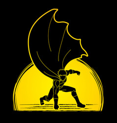 strong man superhero landing powerful action vector image vector image