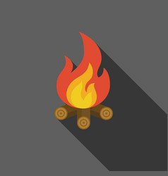 bonfire on fire wood icon vector image vector image