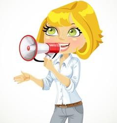 Cute blond girl speaks in a megaphone vector image