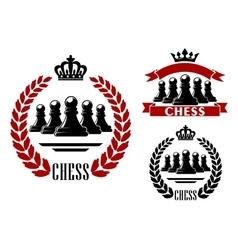 Elegant chess game heraldic symbol vector image