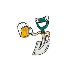 Shovel Holding Beer Mug Cartoon vector image vector image