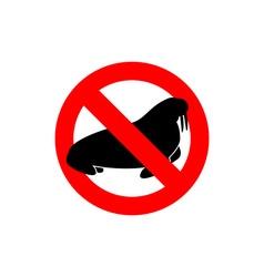 Stop walrus Seal is prohibited Frozen Arctic vector image vector image