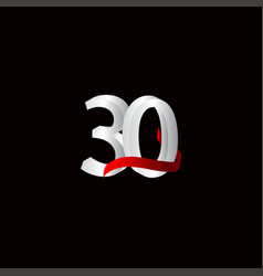 30 years anniversary celebration number black vector