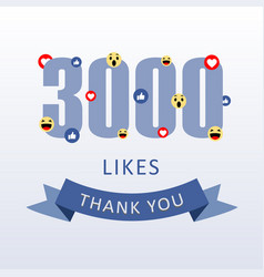 3000 likes thank you number with emoji and heart vector