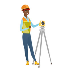 african surveyor builder working with theodolite vector image