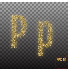 Alphabet gold letter p on transparent background vector